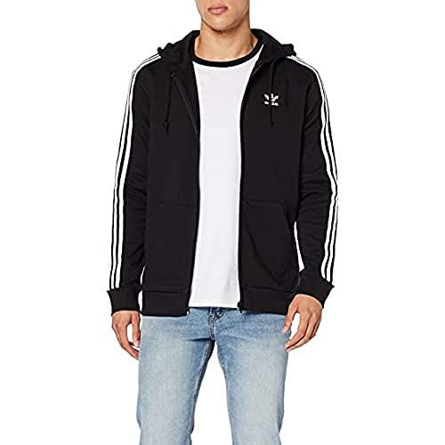 adidas 3-Stripes FZ Sudadera, Hombre, Black, M