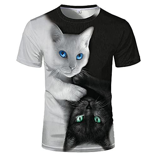 Camiseta 3D para Hombre con Estampado Informal De Verano Y Otoño,Camiseta para Adultos,Sudadera De Manga Corta,Abrigo Superior,Gato Blanco Y Negro Animal,XXXL