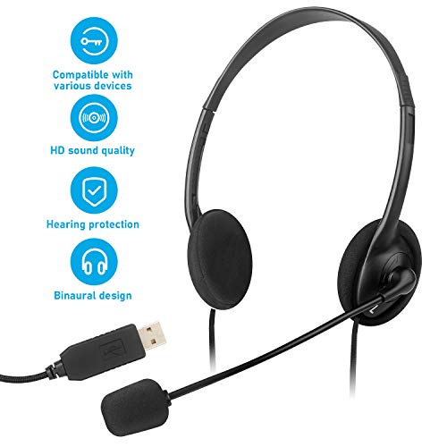 (30% OFF Coupon) ZOVI USB Computer Headset with Microphone for PC and Laptop $18.19