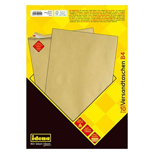 Idena 10241 - Versandtasche DIN B4, 90 g/m², haftklebend, ohne Fenster, FSC-Mix, braun, 10 Stück