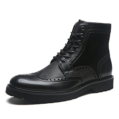 La Milano Men's Leather Winter Boots Wingtip Lace Up Classic Casual Comfortable Dress Boot For Men