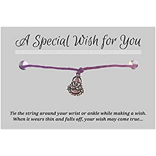 Buddha Purple Wish Bracelet - Hemp with Silver Tone Charm on Printed Card - Adjustable - Unisex:Donald-trump
