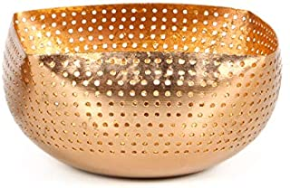 Hosley Perforated Copper Finish Trinket Bowl 6 Inches Long Ideal for Dry Potpourri Ball Candles Weddings Special Events Center Pieces Craft O5