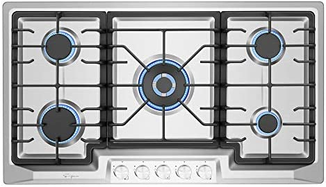Empava EMPV 36GC23 36 Inch Stainless Steel Gas Cooktop Professional 5 Italy Sabaf Burners Stove product image