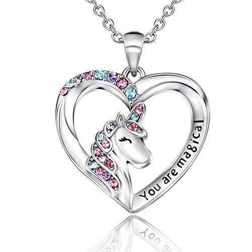 Shonyin Silver Unicorn Necklace for Women Girls CZ Unicorn Heart Pendant Necklace With You Are Magical Christmas Birthday Party Valentines Gifts for Girls Daughter Granddaughter Niece