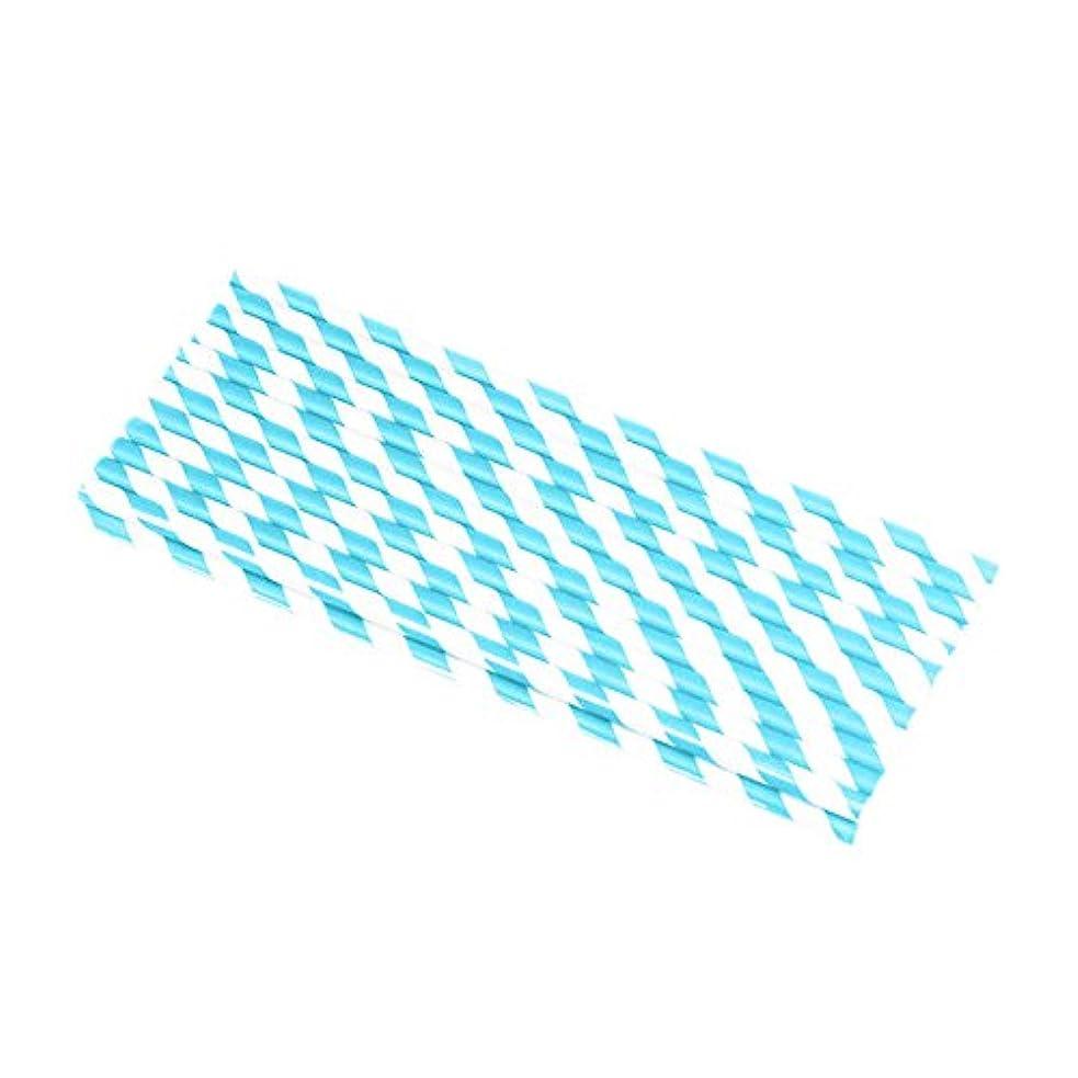 甥太平洋諸島ゆりYuelian(TM) 紙ストロー 縞模様 カラフル ペーパーストロー (11 水色)