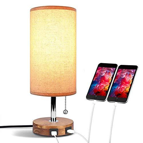 Usb Tabdesk lamp, Aooshine bedlampje met dubbele USB-snellaadaansluiting, minimalistische bureaulamp, stof, massief hout, rond, bedlampje voor slaapkamer, woonkamer, eettafel