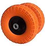 AFT PRO USA 2-Pack 10' Flat Free Tires Air Less Tires Wheels with 5/8' Center - Solid Tire Wheel for Dolly Hand Truck Cart/All Purpose Utility Tire on Wheel (Orange)