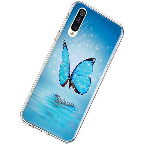 Herbests Kompatibel mit Samsung Galaxy A70 Hülle Silikon Ultra Dünn Handyhülle Luminous Leuchtend Soft TPU Schutzhülle Crystal Silikon Kristall Durchsichtige Hülle Case,Blau Schmetterling