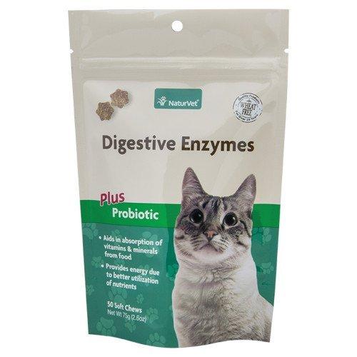 NaturVet 50 Unidades de enzimas digestivas más probióticos masticables Suaves 2 en 1