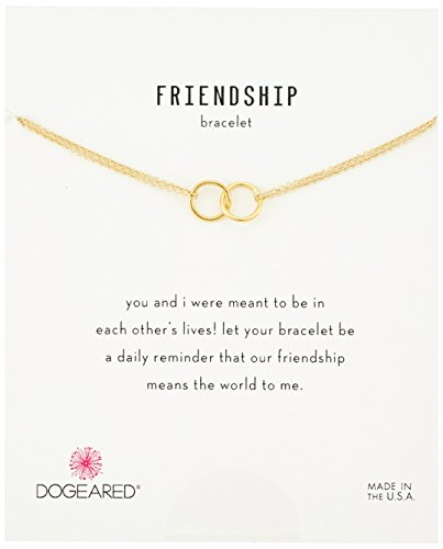 Dogeared 'It's Personal' Friendship Double-Linked Rings Gold Chain Bracelet, 6'+1' Extender