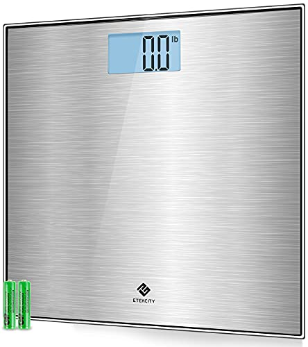 Etekcity Stainless Steel Digital Body Weight Bathroom Scale Step-On Technology Large Blue LCD...