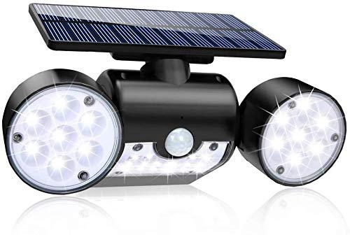 Luz Solar Exterior, Ultra Potente LED Foco Solar con Sensor de Movimiento Doble Cabeza IP65 Impermeable 360 ° Ajustable Lámpara Solar de Seguridad para Frente Puerta Yarda Jardín Garaje (1Pcs)