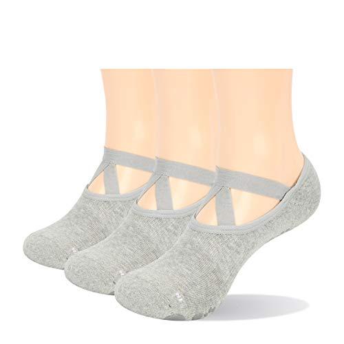 YUEDGE Rutschfest Yoga Socken Baumwolle Pilates Ballett Barre Socken mit Grip für Damen Barfuß...