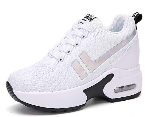 AONEGOLD Sneakers Zeppa Donna Scarpe da Ginnastica Basse Tennis Sportive Fitness Scarpe con Zeppa Interna Tacco 8.5 cm Casual Moda 1298 Bianco 39 EU