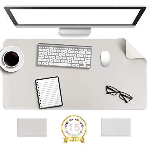 YSAGiデスクマット、滑り止め/防水PUレザー作り、極めて薄い飾りマット、 オフィス及び自宅用パソコンマウスパッド (灰色、80*40cm)