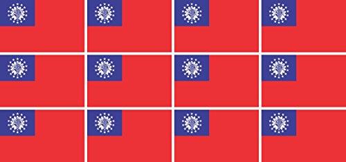 Mini Aufkleber Set - Pack glatt - 50x31mm - Sticker - Myanmar - Flagge-Banner-Standarte fürs Auto, Büro, zu Hause & die Schule - 12 Stück