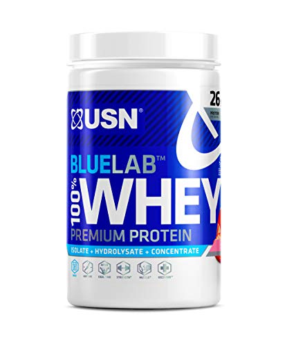 USN Blue Lab, 100 Percent Whey Premium Protein Shake Powder, Muscle Building and Recovery with Glutamine and Amino Acids, Strawberry 510 g