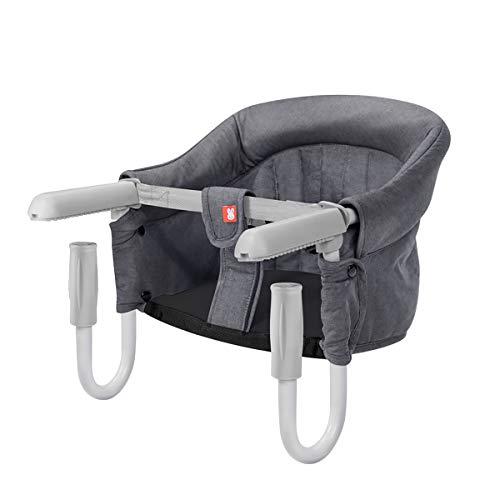 SONARIN Tischsitz Faltbar Babysitz,Baby Hochstuhl für zu Hause und Unterwegs mit Transporttasche,kinderhochstuhl(Grau)