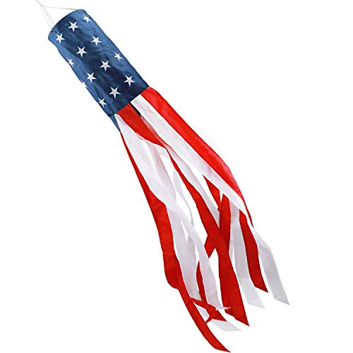 American US Flag Windsock Stars & Stripes USA Patriotic Decorations Embroidered Stars and Fade Resistant 40 Inch