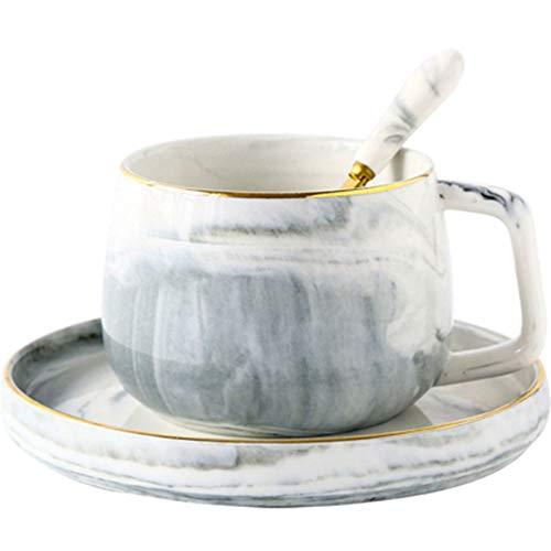 Tasse De Café En Céramique Avec Une Cuillère, Plateau Snack, Marbre Tasse De Café Unique Tasse De Cadeau For Le Mariage De Fête D'anniversaire Cadeau De Noël Et Merci Donner Tasse Rose/Gris
