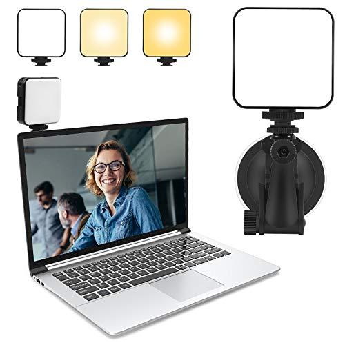 Hiveseen Kit de Iluminación para Videoconferencia, Mini Luz de Fotografía con Ventosa, 2500-6500K Regulable LED Video Relleno Light para Ordenador Portátil, Reunión de Zoom, Cámara, Transmisión Vivo
