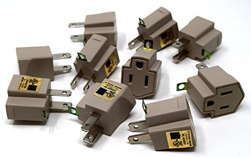 10 Pack 3 to 2 prong AC Polarized Grounding AC Power Plug Adapter UL RATED