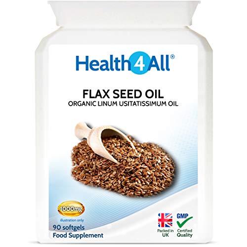 Organic Flaxseed Oil 1000mg 90 Softgels High in Omega 3-6-9 by Health4All
