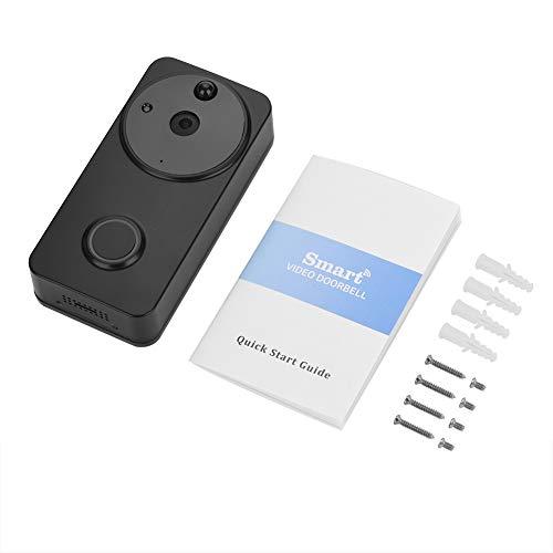 XiangXin Videoportero inalámbrico, Timbre de la cámara del Portero automático IP de la batería de Baja Potencia de WiFi, para iOS y Android(Black)