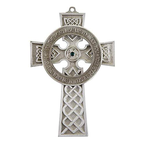 Pewter Religious Irish Celtic Cross Wall Decor with Green Stone, 5 Inch