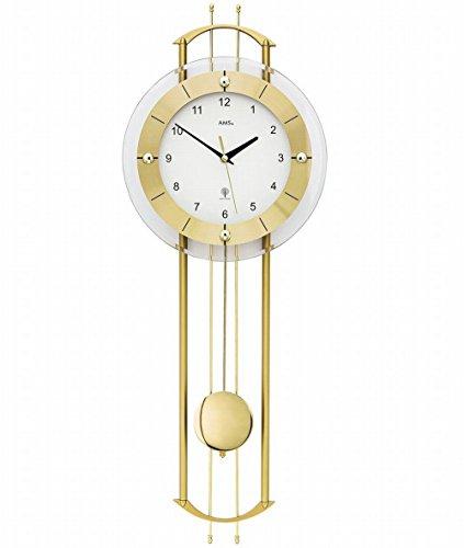 AMS. Orologio da parete a pendolo (radiocontrollo), moderno con vetro minerale e metallo, colore: oro