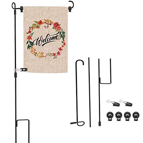 OOTSR Gartenflaggenständer mit Windschutzklammer und Federstoppern, Fahnenmast Schwarze Schmiedeeisen-Gartenfahne Gartenfahnenmast Fahnenhalter für Gartenrasen-Dekoration