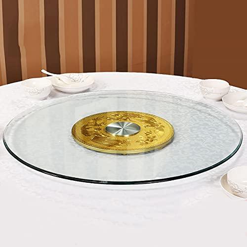 60-120 cm Tavolo da Pranzo Piatto Girevole Giradischi In Vetro Temperato Grande Tavolo Rotondo Lazy Susan Vassoio Piatti Girevoli Rotondo, Trasparente,80cm/31.4in