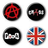 4 Punk Buttons Buttonset Punkrock Union Jack Anarchy Anstecker Ansteckbuttons #1 (2,5cm) -