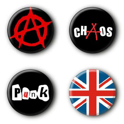 4 Punk Buttons Buttonset Punkrock Union Jack Anarchy Anstecker Ansteckbuttons #1 (2,5cm)