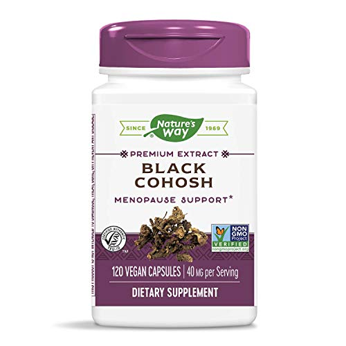 Nature's Way Standardized Black Cohosh, 2.5% Triterpene Glycosides per serving, 40 mg per serving, Non-GMO Project Verified, Gluten Free, Vegetarian, 120 Capsules
