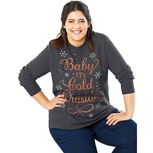 JUST MY SIZE Women's Plus Size Ugly Christmas Sweatshirt, Slate Heather, 28