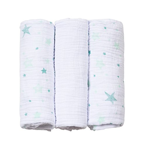 Cueiro Soft Estampado, Papi Textil, Verde, 80cmx80cm, Pacote de 3