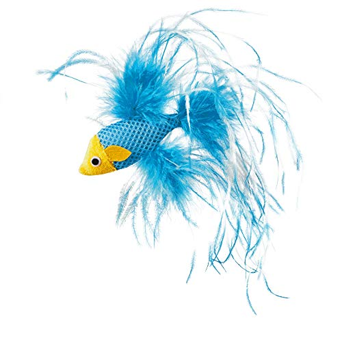 Leaps & Bounds Feathered Fish Cat Toy with Catnip, 4.5' Length, 4.5 in, Assorted
