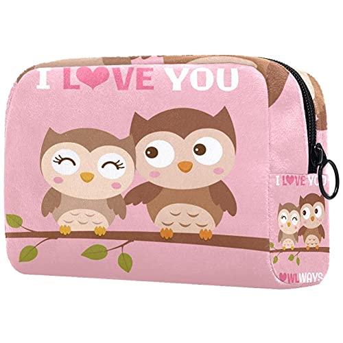 Kosmetiktasche Make-up-Tasche mit Reißverschluss, Paar Eulen Illustration für Valentinstag Dau