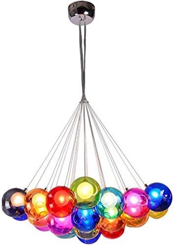 Moderne LED Hanglamp, Kleur Glas Bal Kroonluchter voor Kinderkamer Eettafel Keuken Island Kwekerij Woonkamer (Maat: 12 Licht)