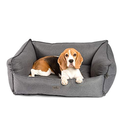 JAMAXX Premium Hundebett - Orthopädisch Memory Visco Füllung, Extra-Hohe Ränder, Waschbar, Hochwertiger Stoff mit viel Eleganz, Hundesofa PDB2018 (M) 90x70 grau