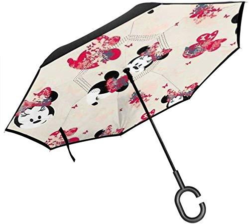 Parapluie inversé de Voiture de tête de Souris, Parapluie inversé Pliant Double Coupe-Vent et imperméable, parapluies pliants inversés de Protection UV