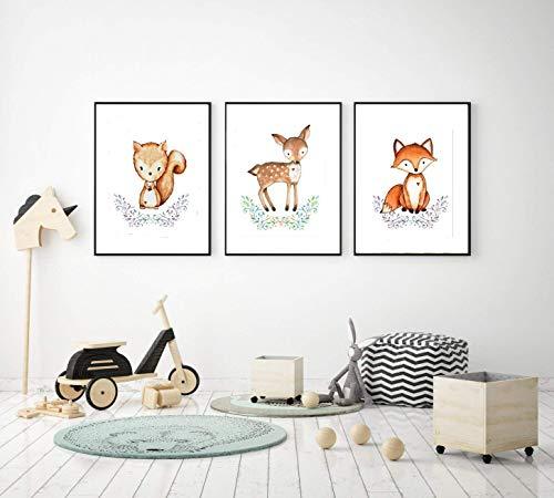 Prints 3er Set Format A3 Waldtiere Eichhörnchen Reh Fuchs Bild Kinderzimmer Wanddeko ohne Rahmen