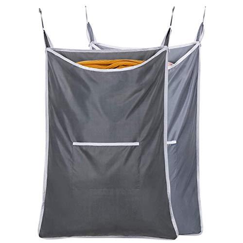 [Amazonブランド] Umi.(ウミ) ランドリーバッグ ポケット 洗濯かご 折り畳み式 ランドリーバスケット 洗濯物入れ 収納ボックス グレー