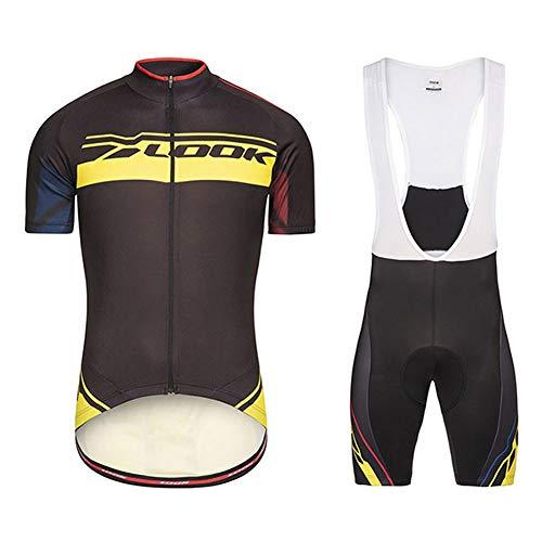 Summer Mens Cycling Jersey Manga Corta Pro Look - Racing Club Road Bicycle Outdoor Bike Jersey, Combo de compresión de Secado rápido Set Amarillo (Size : Large)