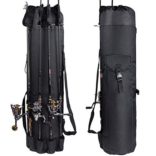 Croch Rutentasche Aufbewahrungsbeutel und Tragetasche für Angelruten und andere Angelgeräte (Black-Schwarz)