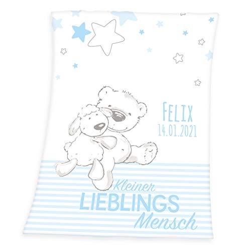 Wolimbo Flausch Babydecke mit Namen und Lieblingsmensch HELLBLAU - personalisierte/individuelle Geschenke für Babys und Kinder zur Geburt, Taufe und Geburtstag - 75x100 cm