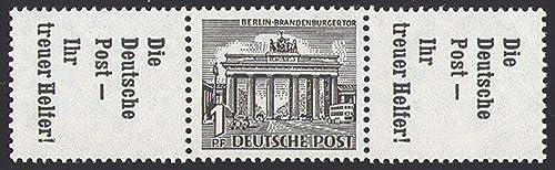 Goldhahn Berlin Zusammendruck W38 postfrisch  Bauten 1952 (R7+1+R7) Briefmarken für Sammler