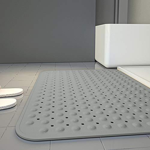 Alfombrilla de ducha antideslizante extra grande, antideslizante, con ventosa y orificio de drenaje, apto para baños, hoteles y otros lugares antimoho, antibacteriano, lavable a máquina 80 x 120 cm